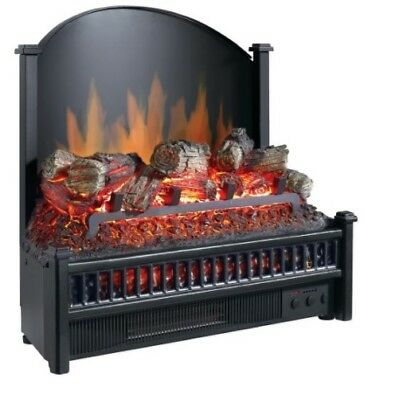 Electric Fireplace Logs LED Glowing Ember Bed Cast Iron Fireback Heat Home Black