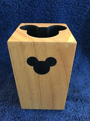 "Disney Mickey Mouse Brown Wood Block Square Candle Holder 5""x3"" EUC"