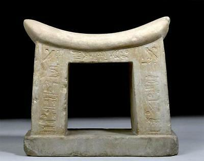 Published Egyptian New Kingdom Limestone Headrest/Pylon 1570 to 1070 BCE