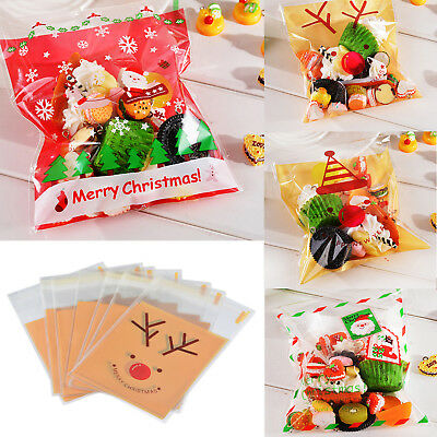 New 50PCS Self Adhesive Christmas Santa Cellophane Candy Bags Party Candy Bag