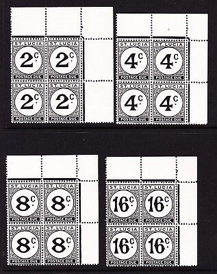 ST LUCIA 1949-52 POSTAGE DUES SET IN BLOCKS OF FOUR SG D7a-D10a MNH.