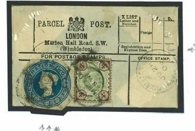E173 Great Britain Cover 1906 2d Registered Stationery Cut-out Wimbledon/PPL