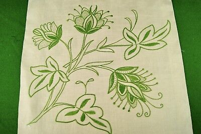 VINTAGE HAND EMBROIDERED GREEN FLORAL ON LINEN PANEL Cushion Cover Crafts