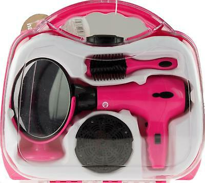 Battery Operated Large Pink Pretend Play Hair Dryer In Beauty Case Set