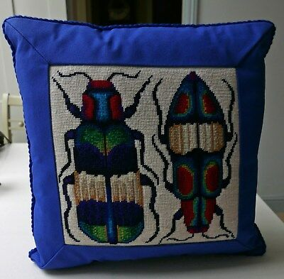 Alison Farnworth Cole for Ehrman: Two Jewel Beetles COMPLETED TAPESTRY CUSHION