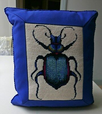 Alison Farnworth Cole for Ehrman: Fiery Beetle COMPLETED TAPESTRY CUSHION