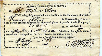 Milford Massachusetts Militia Order To Report Armed For Military Duty 1820