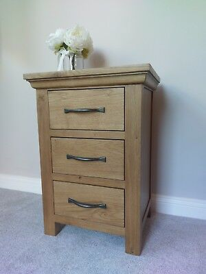 Alberta Oak Large Bedside Table / Bedroom Side Cabinet / Solid Wood Nightstand