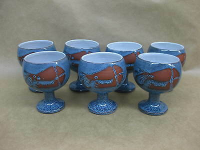7 Vintage Wellhouse Pottery Prawn Cocktail Goblets / Dishes ~ Blue ~ No Saucers