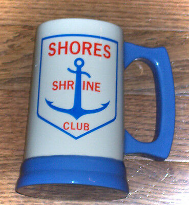 Shriners Blue and White Stein Mug Cup