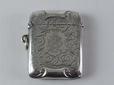 (Ref165DR 41) Antique large silver vesta case hallmarked Birmingham 1897