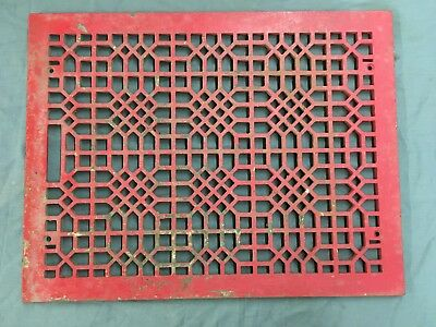 Large Antique Cast Iron Cold Air Return Vent Vtg Grill Waffle 24x18 696-17E