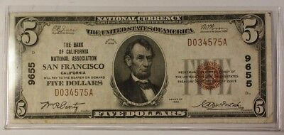 US $5 National Banknote Series of 1929 San Francisco California Charter #9655