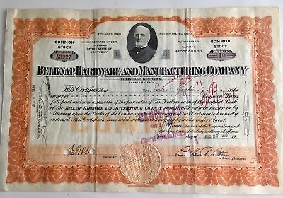 Belknap Hardware And Manufacturing Co...1936... Stock Certificate...
