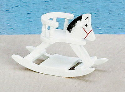 "Dollhouse Miniature Rocking Horse w/ Back Rest Seat White Wood 2½""H x 3¼""T 1:12"