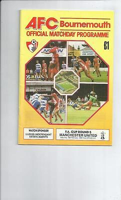 Bournemouth v Manchester United FA Cup Football Programmes 1988/89