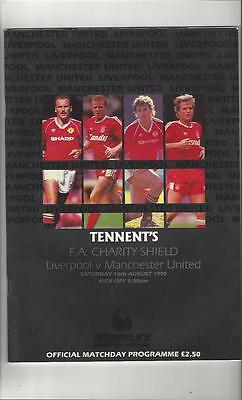 Liverpool v Manchester United Charity Shield Football Programme 1990