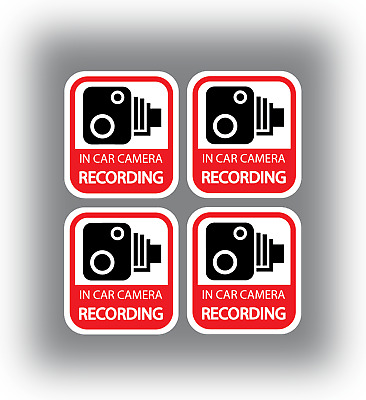 4 x In Car Camera Recording Stickers Dash Cam Video Warning Vinyl Decals Red