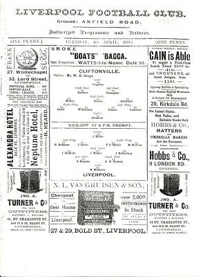 LIVERPOOL v Cliftonville (Friendly) 1892/3 First Season