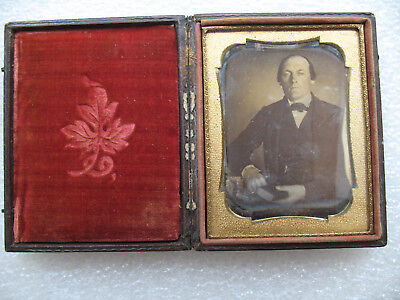 Antique Daguerreotype Portriat Photograph,Of Gentlemen With Book & Key 1/4 Plate