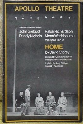 Apollo Theatre programme, Home by David Storey, John Gielgud, Richardson,