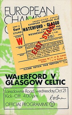 WATERFORD v Celtic (European Cup) 1970/1 + MATCH TICKET