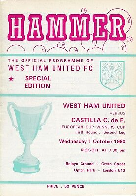 WEST HAM v Castilla Spain (Cup Winners Cup) 1980/1
