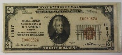 US $20 National Banknote Series of 1929 Colonial Bank of Roanoke VA. Ch #11817