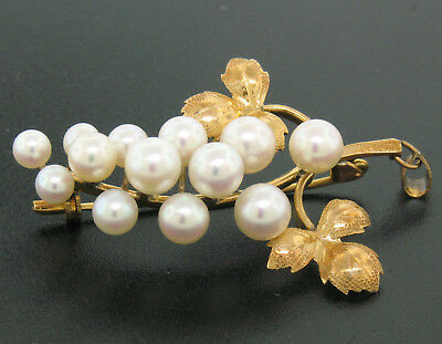 Detailed 14K Yellow Gold Graduated Pearl Grape Cluster Etched Brooch or Pendant