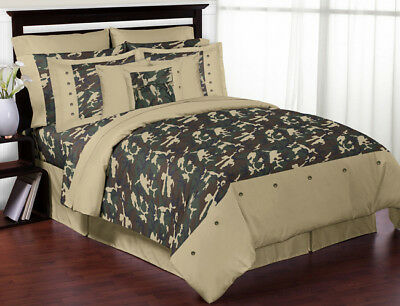 Jojo Green Brown Camo Army Boy Camouflage Kid Teen Full Queen Sized Bedding Set