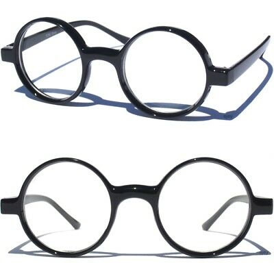 ROUND BLACK FRAME Clear Lens GLASSES Smart Geek Nerd Fashion Retro Circle Front