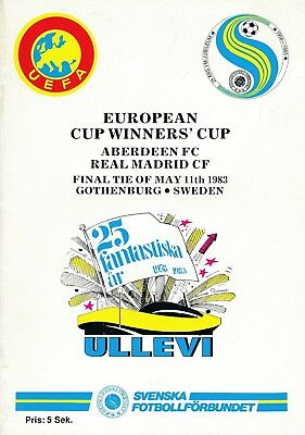 CUP WINNERS CUP FINAL 1983 Aberdeen v Real Madrid