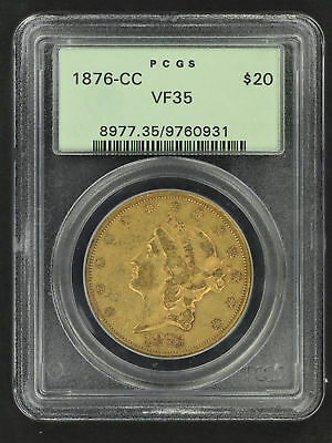 1876-CC Double Eagle Type 2 $20 Gold Liberty PCGS VF-35 OGH -107506