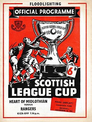 SCOTTISH LEAGUE CUP FINAL 1961 REPLAY Rangers v Hearts