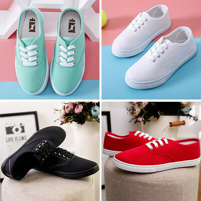 Women Candy Color Canvas Flats Lace Up Boat Casual Walking Sneaker Loafer Shoes