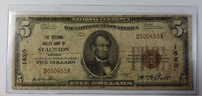 US $5 National Banknote Series of 1929 Staunton Virginia Charter # 1620 Fine