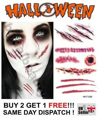 Halloween 3D Temporary Tattoos Costume Party Zombie Horror Scar Wound Blood Bite