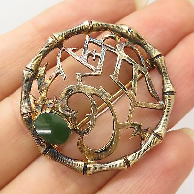 Vtg Wells 925 Sterling Silver Gold Plated Real Jade Gem Openwork Pin Brooch