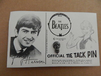 Vintage Beatles George Harrison Official Metal Tie Tack Pin on Card-NEMS 1964