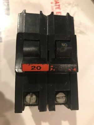FEDERAL PACIFIC FPE 2 Pole 20 Amp Type NA (thick) STAB-LOK NA220 Circuit Breaker