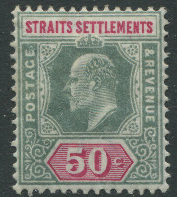 Straits Settlements KEVII 1902 50 cents green & carmine rose mint o.g.