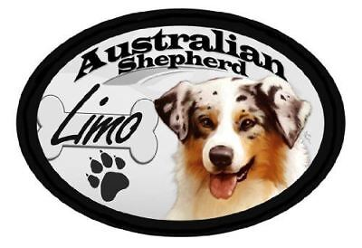 """Australian Shepherd """"Limo"""" Oval Dog Magnet for Cars and such"""