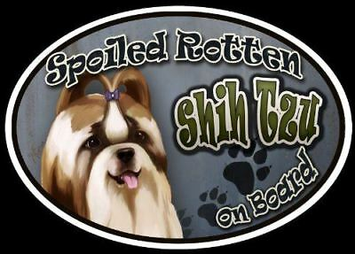 Shih Tzu - Spoiled Rotten Oval Dog Magnet for Cars
