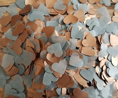 2 HANDFULS COPPER Rose Gold GREY HEART WEDDING THROWING CONFETTIDECORATION