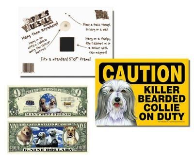 "Bearded Collie 2 Pack ""Caution Killer Bearded Collie on Duty"" 5x7 Funny Dog Sign"