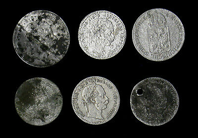 Lot of 6 Austria and Hungary 1800's silver cull coins 6, 10, 20 Kreuzer Krajczar