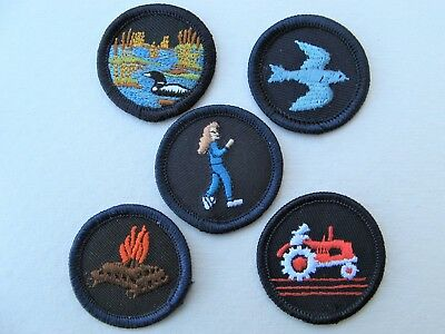 Girl Guides Canada  5 Merit Badges Patch Scouts Farming Camping Bird Watching