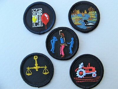 Girl Guides Canada  5 Merit Badges Patch Scouts Farming Justice Dancing Events