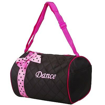 Quilted Dance Duffle Bag with Pink Polka Dot Bow