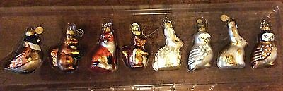 8 Glass Christmas Forest Ornaments Fox Rabbits Owls Chickadee Squirrels Dept 56